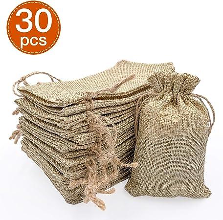 MZKJ - 30 sacos de yute de algodón con cordón, 10 x 15 cm, bolsas ...