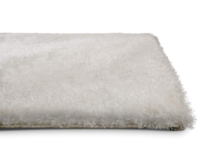 Homie Living Moderner glänzender Hochflor (120 x 170 cm, weiß) Shaggy Teppich Uni Einfarbig Florenz