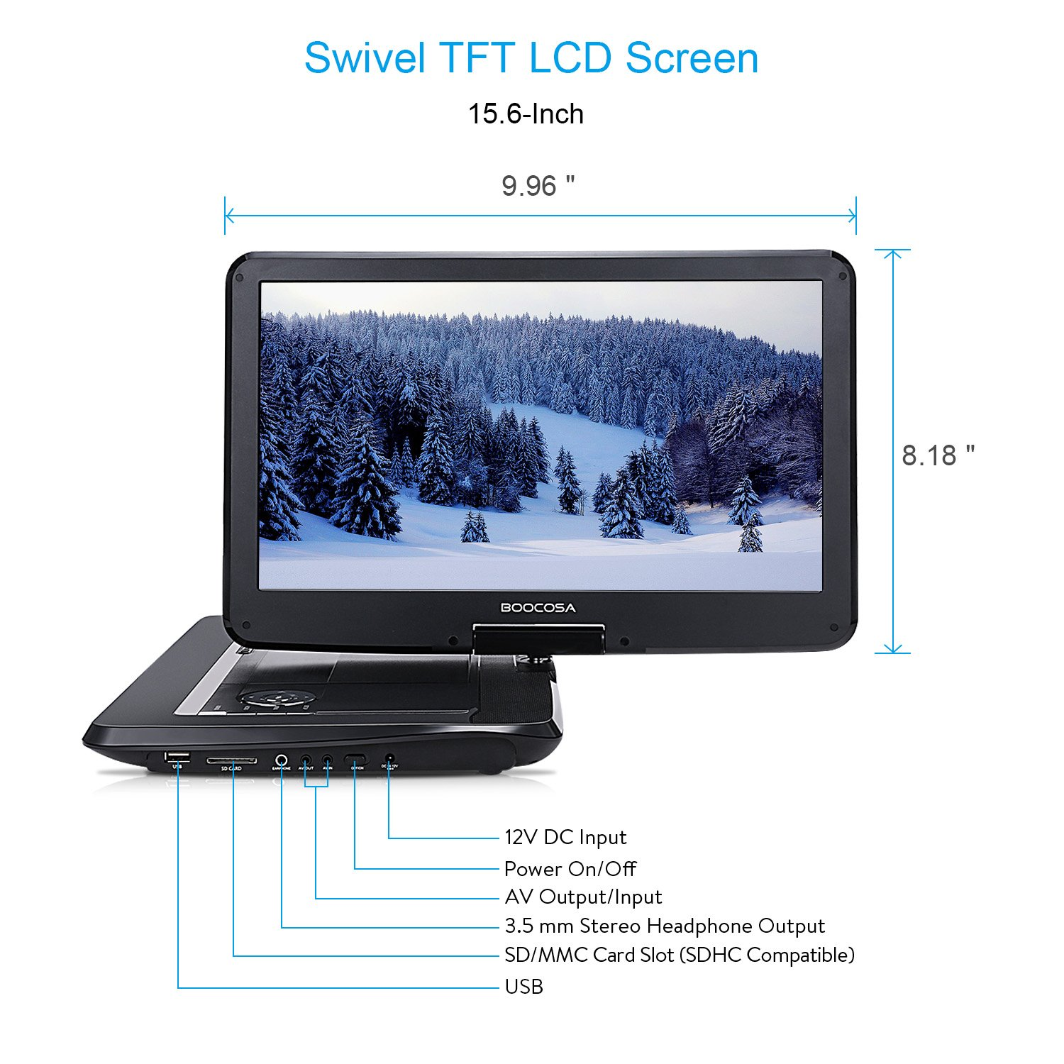 BOOCOSA Portable DVD Player with 270° Swivel TFT LCD Screen, Remote Control, Built-in 5 Hours Rechargeable Battery, Car Charger, AV Cable, Carrying Bag, CD/MMC Card Slot/USB (15.6 Inches, Black) by BOOCOSA (Image #2)