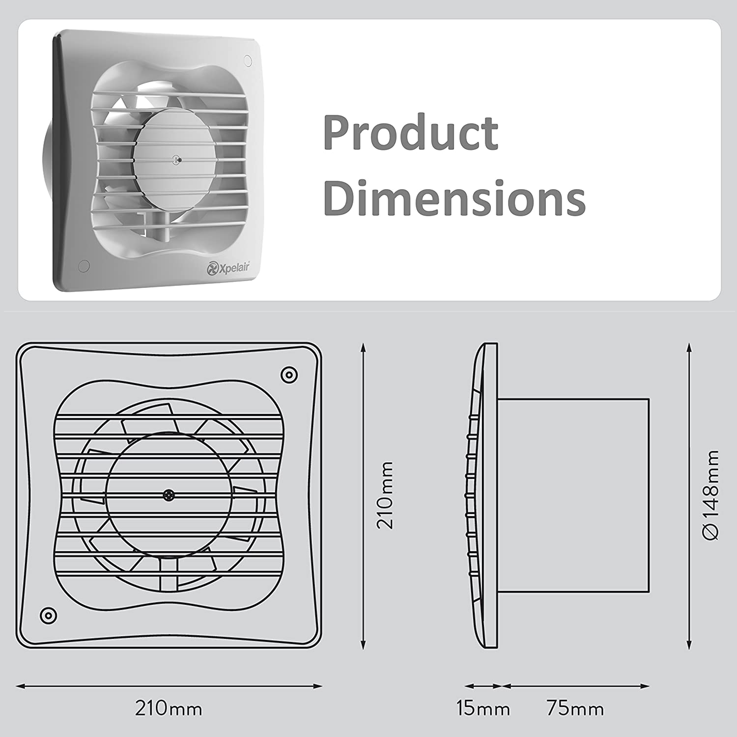 Xpelair 93227aw 6 inch kitchen bathroom wall or ceiling for 6 bathroom extractor fan with timer