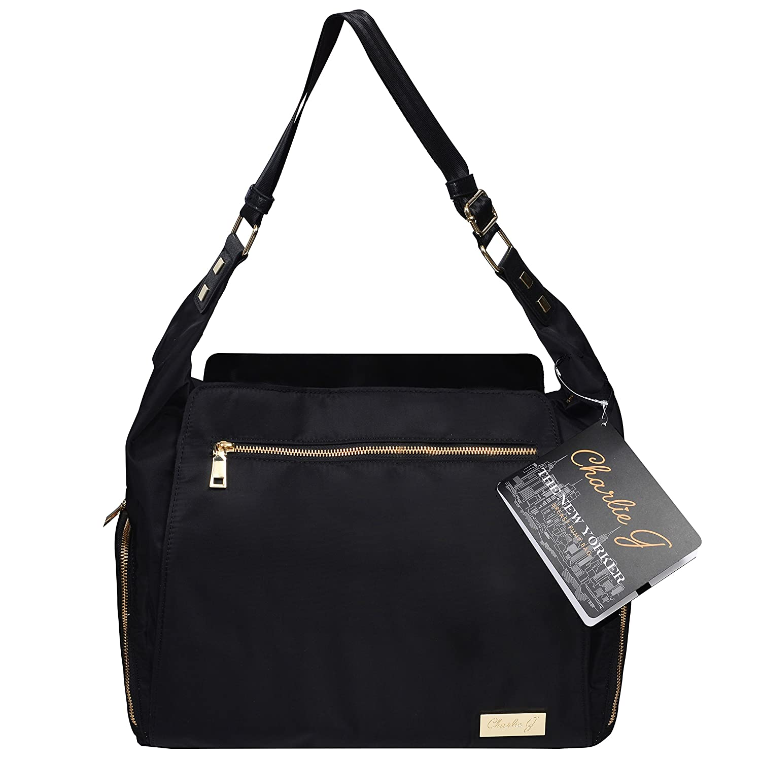The New Yorker Breast Pump Bag by Charlie G, Black/Gold (Mini)