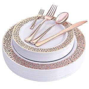 WDF 150PCS Rose Gold Plastic Plates with Disposable Plastic Silverware,Lace Design Plastic Tableware sets include 25 Dinner Plates,25 Salad Plates,25 Forks, 25 Knives, 25 Spoons/Bonus 25 Mini Forks