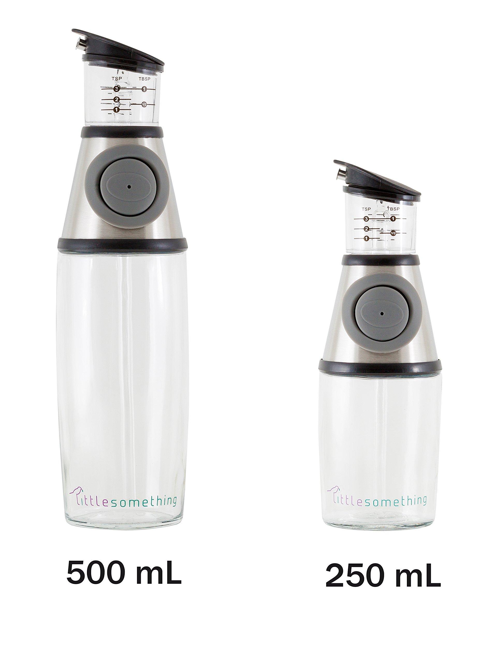 LittleSomething Olive Oil and Vinegar Dispenser - Glass Oil Bottle Non Drip 11 Ounce - Measuring Oil Pourer for Kitchen - Stainless Steel Silver