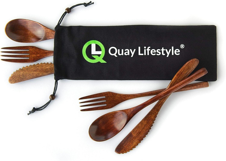 Juego de cubiertos de bambú Quaylifestyle® para 2 personas - Disfrute de una comida tranquila - Hecho de bambú de primera calidad - Cuchillos, ...