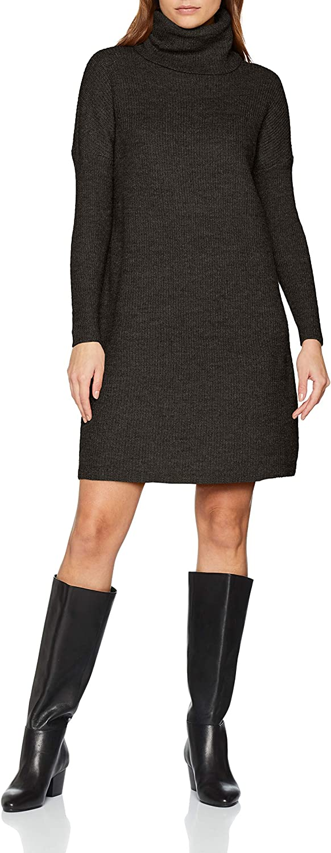 TALLA 40 (Talla del Fabricante: Medium). Only Onljana L/S Cowlneck Dress Wool Knt Vestido para Mujer Gris (Dark Grey Melange Dark Grey Melange) 40 (Talla del fabricante: Medium)