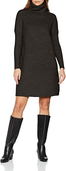 TALLA 42 (Talla del Fabricante: Large). Only Onljana L/S Cowlneck Dress Wool Knt Vestido para Mujer Gris (Dark Grey Melange Dark Grey Melange) 42 (Talla del fabricante: Large)