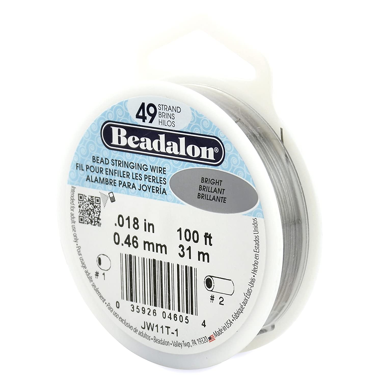 Beadalon 49-Strand Bead Stringing Wire, 0.018-Inch, Bright, 100-Feet JW11T-1