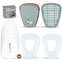 Set de Cartuchos y Filtros para Respirador Anti Polvo RHINO x2 Cartuchos, x6 Filtros x2 Protectores Compatibles con 3M y…