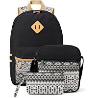 Plambag Canvas Backpack Set 3 Pcs for Women Teen Girls