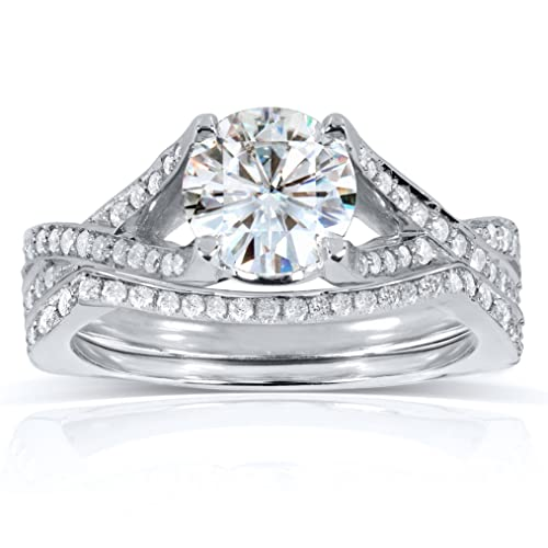 Round Moissanite Bridal Set with Diamond 1 2/5 CTW 14k White Gold