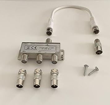 3-con TV-distribuidor suave de tres salidas para DVB-T y por cable, con 20 cm cable de antena