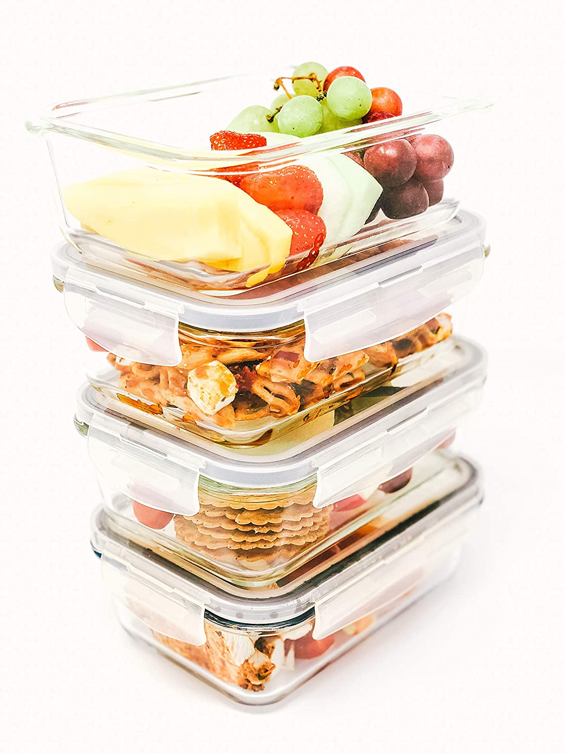 Glass meal prep storage containers , The ideal freezer containers for food , Reusable food glass storage containers with air tight lockable lids , Set of 4 lunch size reusable glass food prep containers perfect for oven, freezer and microwave , No quibble