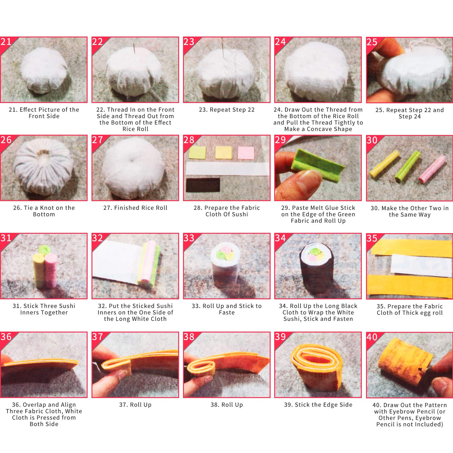 Color E 2 Set Sew Craft Kit Sew Mini Treats Bento for Girls to Stitch and DIY Stuffed Sewing Craft Kit