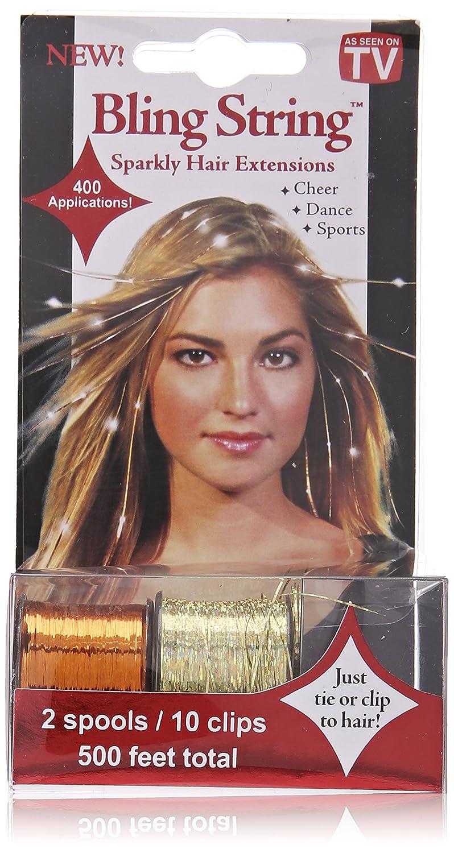 Amazon Mia Bling String Hologram Gold Hair Extensions Orange