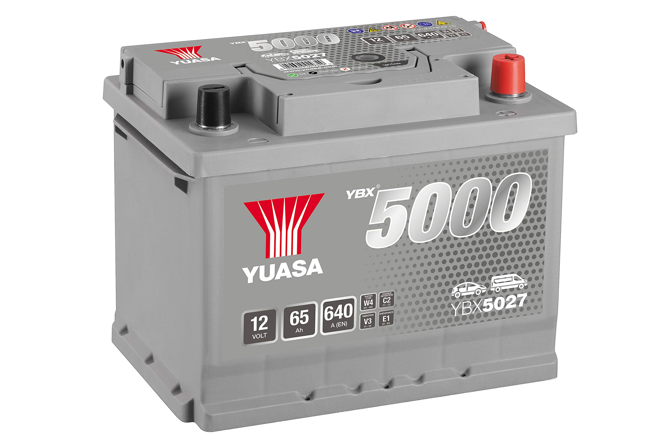 Yuasa YBX5027 12V 65Ah 640A Silver High Performance Battery