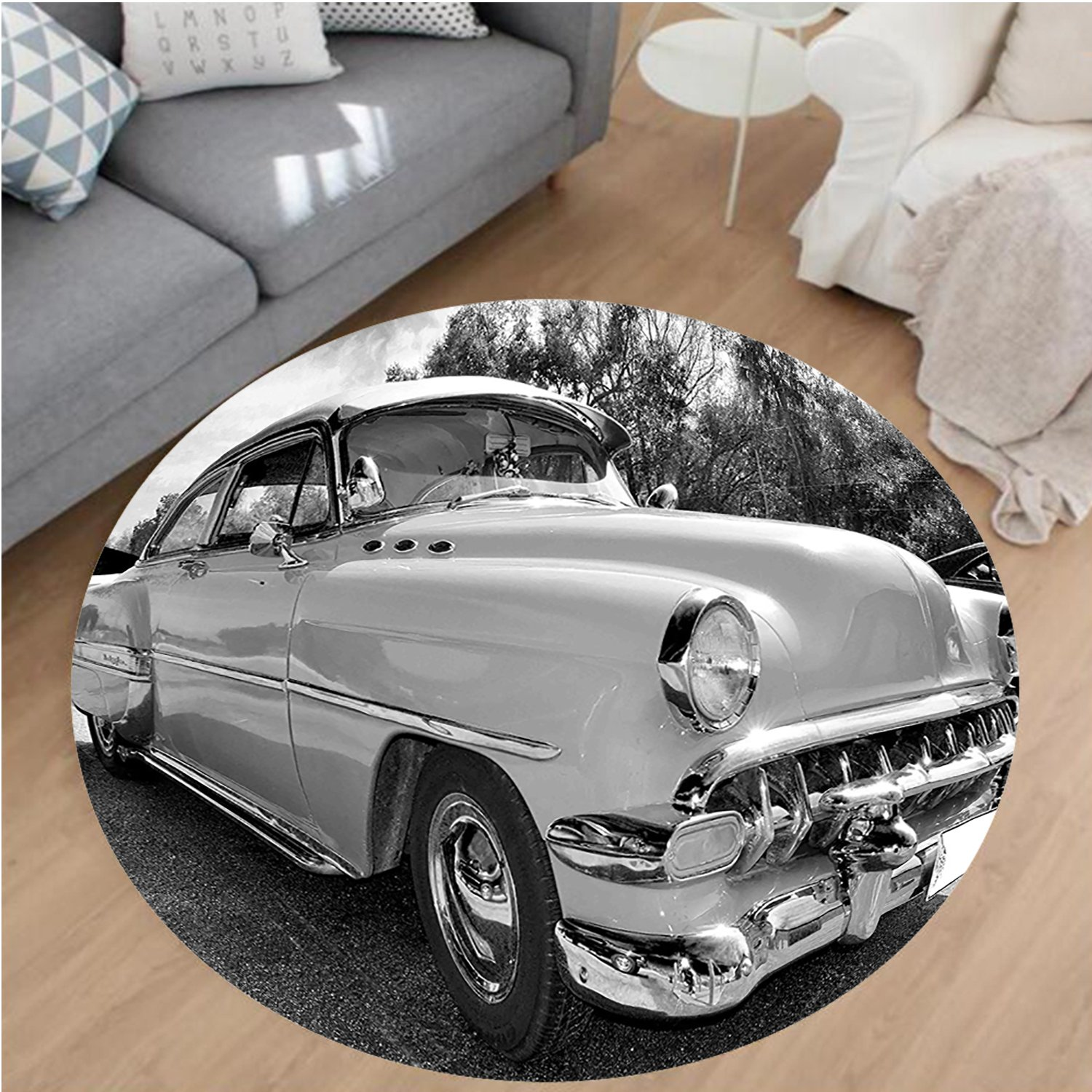 Nalahome Modern Flannel Microfiber Non-Slip Machine Washable Round Area Rug-0s Retro Classic Pin Up Style Cars in Hollywood Movies Image Artwork Black White and Gray area rugs Home Decor-Round 67''