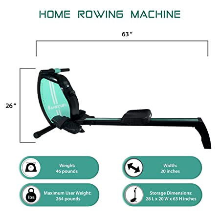 Harvil Magnetic Rowing Machine Rower with 8-Level Tension Resistance System, LCD Monitor and Transport Wheels
