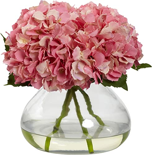 Nearly Natural 1357-PK Blooming Hydrangea with Vase, Large, Pink
