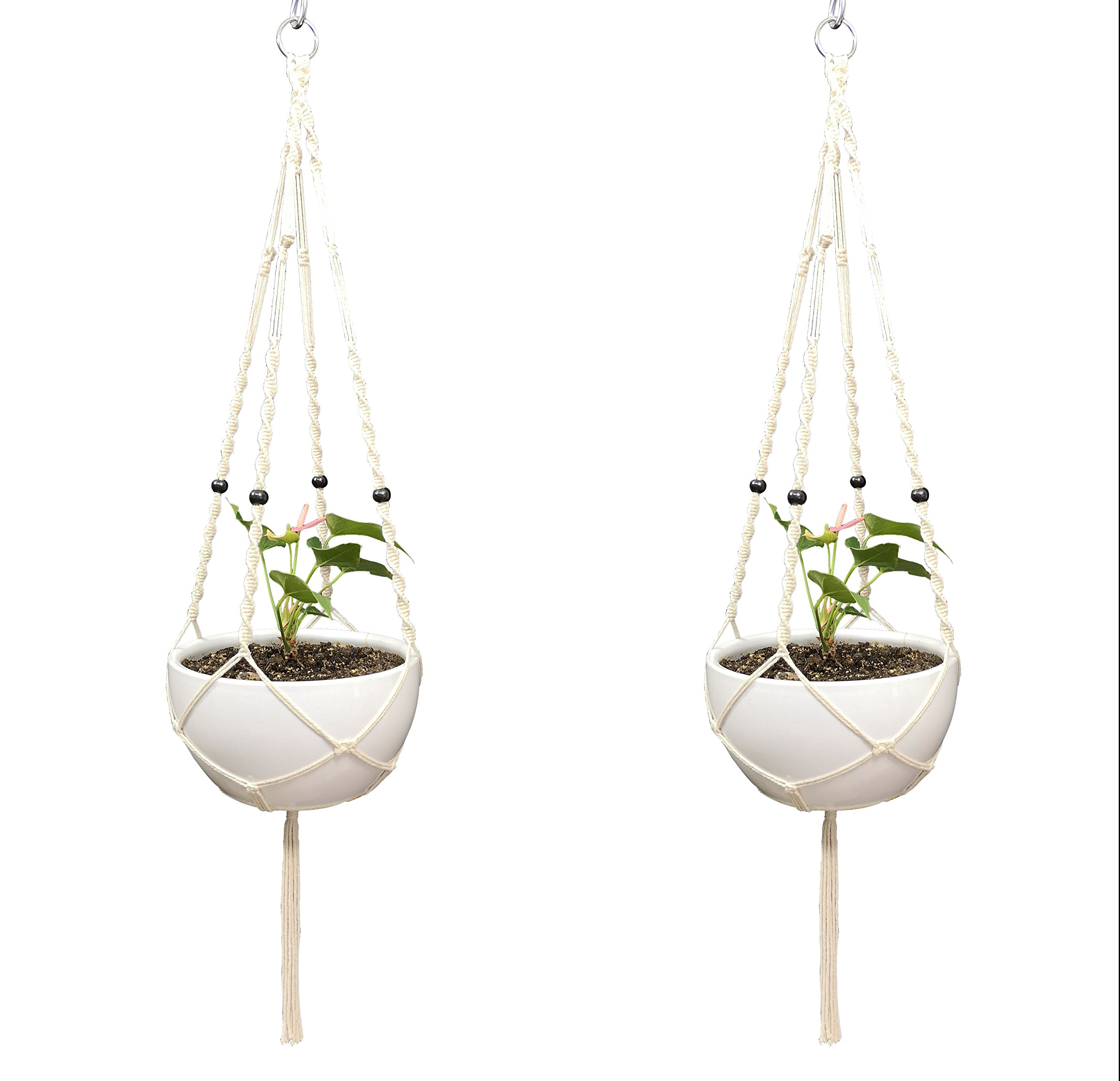 2 PCS Plant Hanger Macrame Cotton 4 Legs 48 inches for Indoor Outdoor, Living Room, Kitchen, Deck, Patio, High and Low Ceiling and Fits Round & Square Pots with Size of 10-12 inches Without The Pot