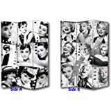 6FT Tall 3 Panel 2 Fold Classic Audrey Hepburn Room Divider Canvas