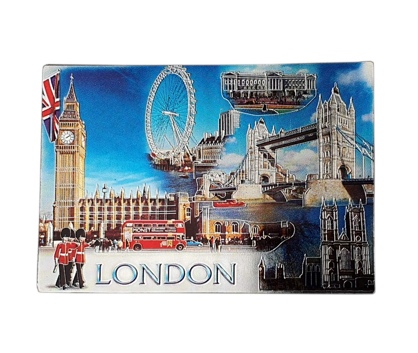 London Photo Collage Foil Fridge Magnet - Blue Sky/Big Ben/Tower Bridge/Westminster Abbey/Red Double-Decker Bus/Royal Guard/Buckingham Palace/Union Jack/British Souvenir from England UK