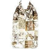 Filles écharpe en mousseline de satin foulard motif instruments et notes de musique châle enveloppant