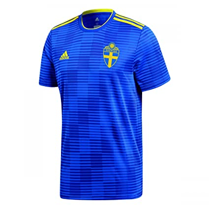 Amazon.com   adidas 2018-2019 Sweden Away Football Soccer T-Shirt ... 3d55a8248