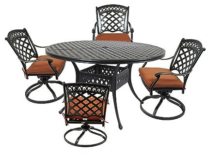 St. Tropez 5 Piece Cast Aluminum Dining Set With 52u0026quot; Round Table,