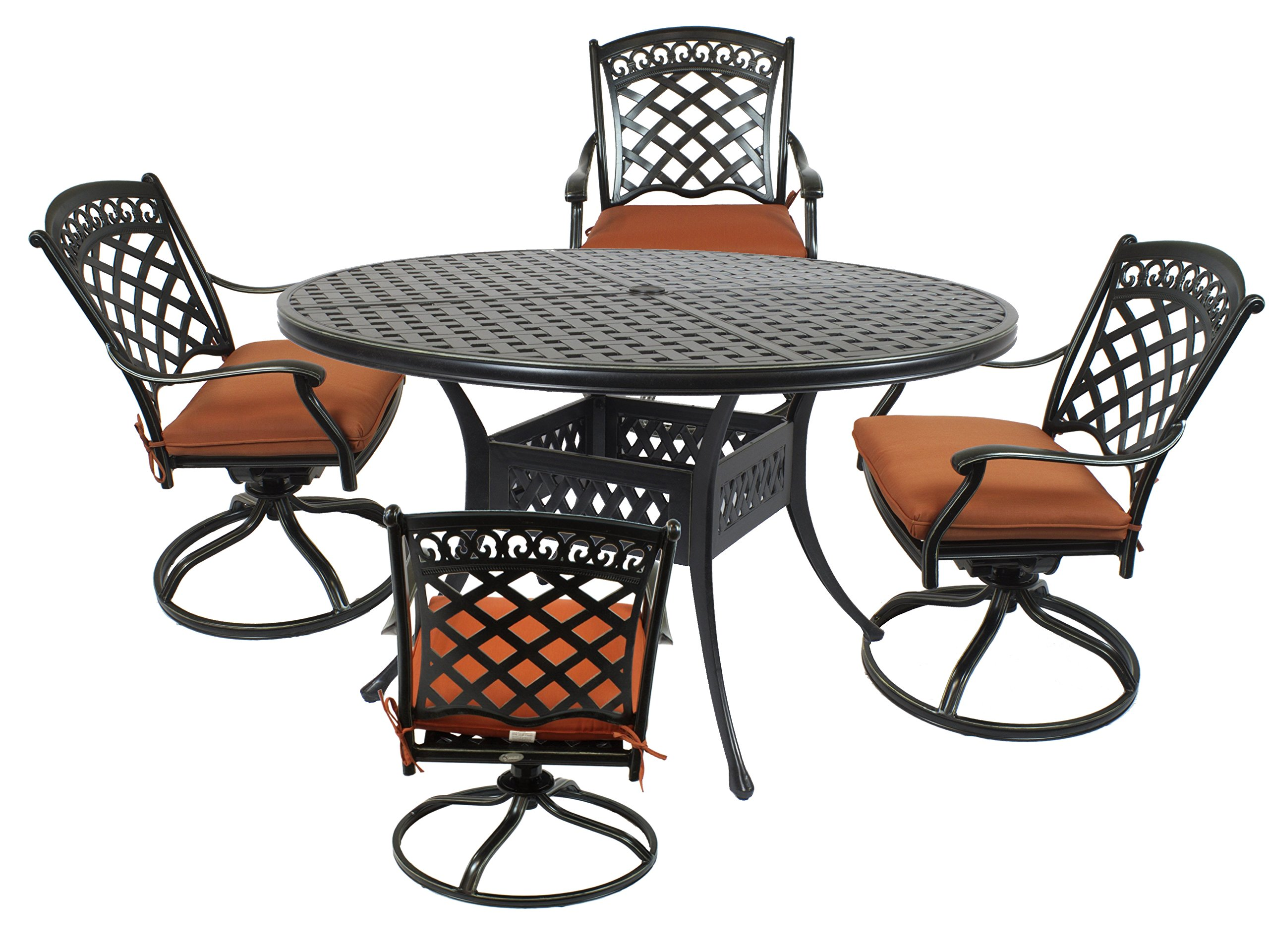 "St. Tropez 5-Piece Cast Aluminum Dining Set with 52"" Round Table, 4 Swivel Rockers and Seat Cushions - Table: 52"" L x 52"" W x 29.5"" H; Chair: 25"" D x 24"" W x 36"" H; Seat Height: 17"", Arm Height: 26"". Constructed with sturdy powder coated cast aluminum metal 3"" thick Terracotta colored cushions with optimal comfort and relaxation - patio-furniture, dining-sets-patio-funiture, patio - 81uVfLEEjwL -"