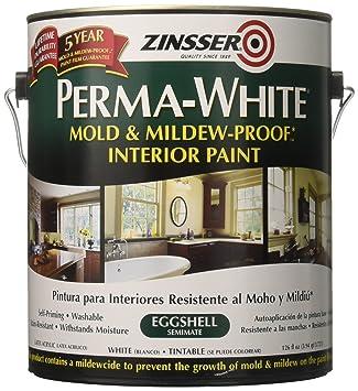 Rust Oleum 2771 Zinsser Perma White Mold Mildew Proof Paint For Interiors Eggshell White 3 78 Liters Amazon In Home Improvement