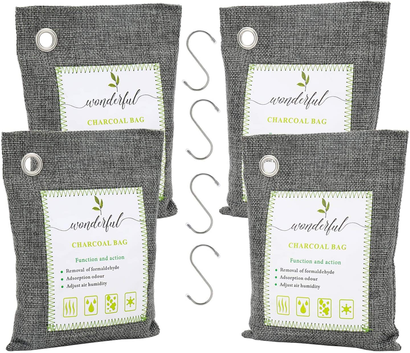 Angbo Activated Charcoal Odor Absorber Air Purifying Bags, Odor Eliminators for Home, Car, Closet 200g 4 Pack Charcoal Grey with Hooks
