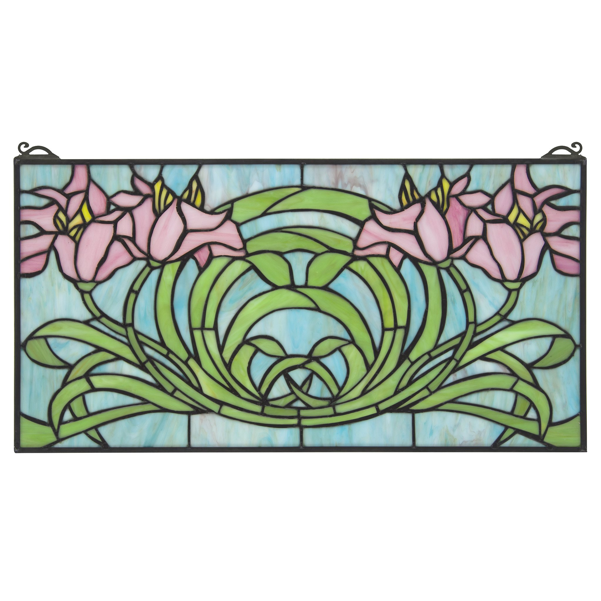 Stained Glass Panel - Beaucoup de Fleurs (Lots of Flowers) Stained Glass Window Hangings - Window Treatments