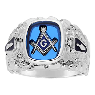 Amazon.com: I.B.G. Anillo de plata esterlina azul masónico ...