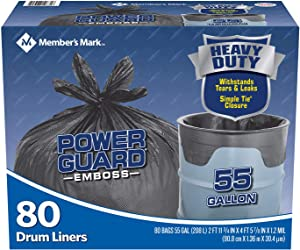 Member's Mark Drum Liner 55 Gallon Simple Tie Trash Bags 2 Pack (80 ct.)