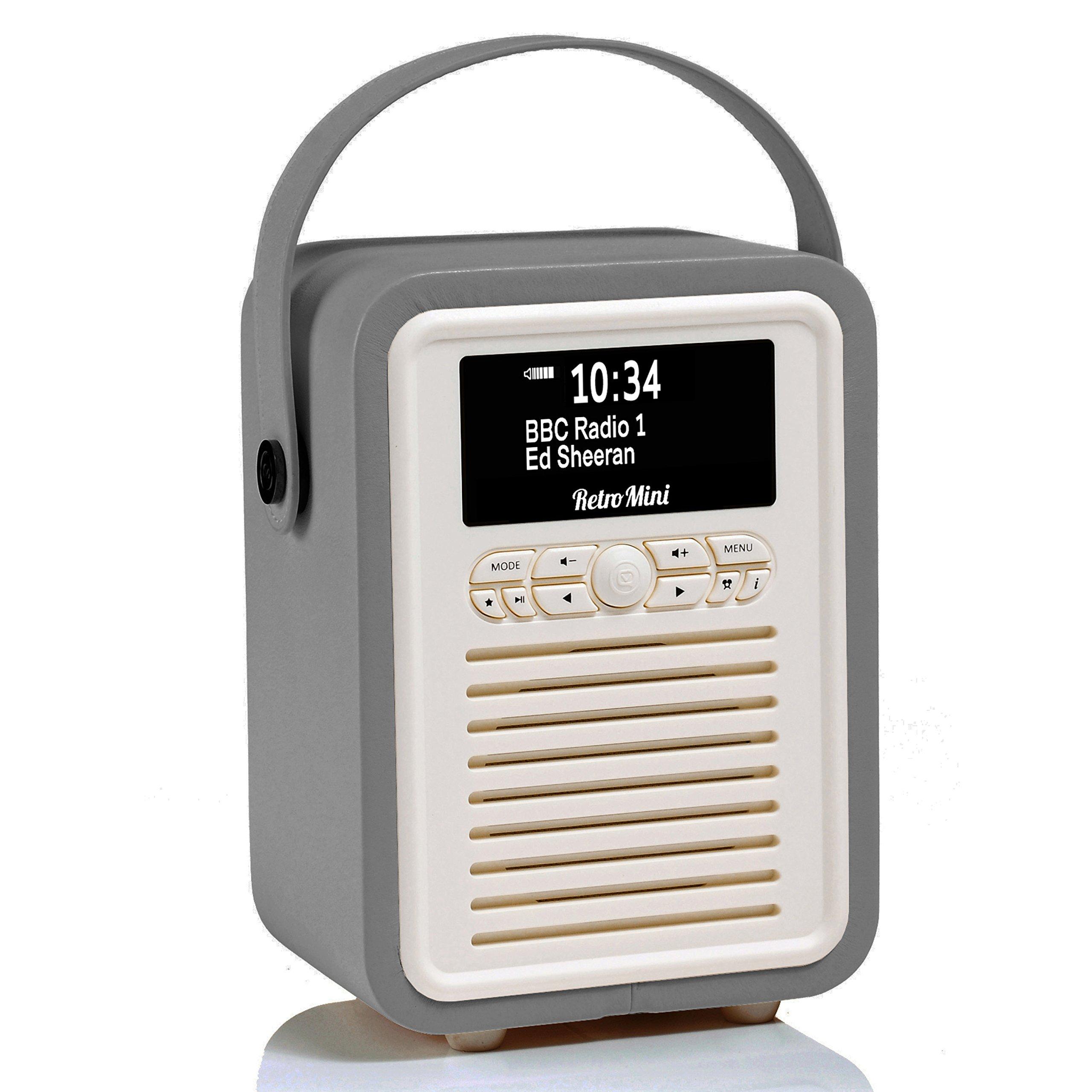 Retro Mini by VQ | Radio & Bluetooth Speaker with AM/FM & HD Radio, Dual Alarm Clock Mains or Battery – Premium PU Leather Case Dark Grey