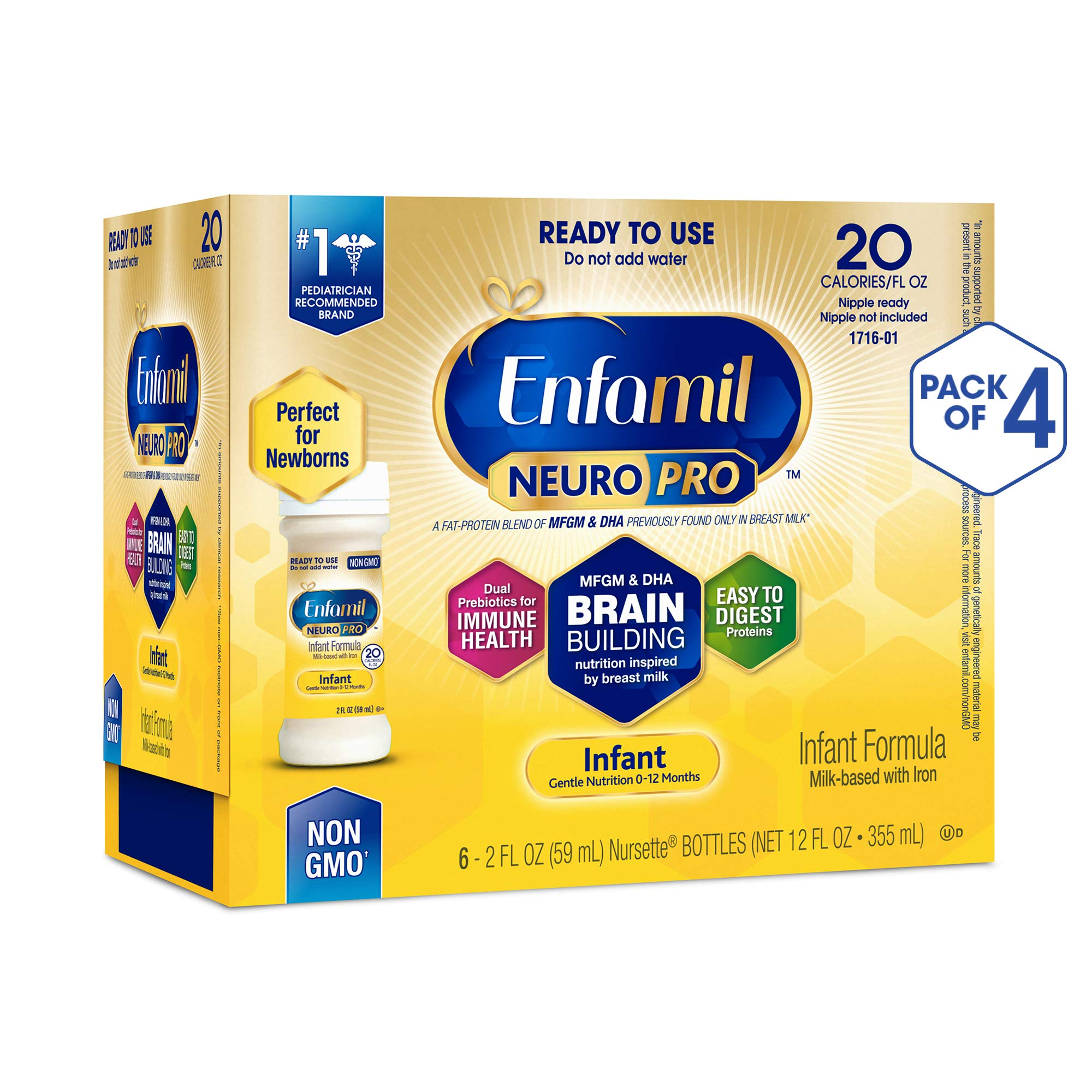 Enfamil NeuroPro Ready to Use Baby Formula, Ready to Feed, Brain and Immune Support with DHA, Iron and Prebiotics, Non…