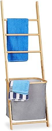 Relaxdays Toallero Escalera con Cesto para Colada, Bambú-Tela, Beige-Gris, 139 x 43.5 x 33 cm: Amazon.es: Hogar
