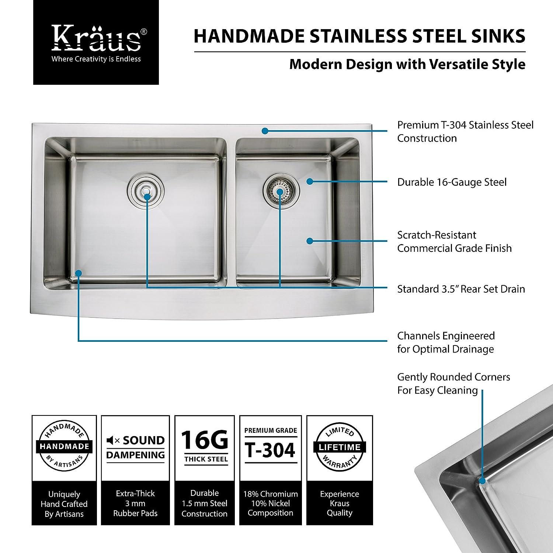 Kraus khf203 - 36-kpf1602-ksd30ch 36 pulgadas granja doble cuenco fregadero de cocina de acero inoxidable con acabado cromado grifo de la cocina y ...
