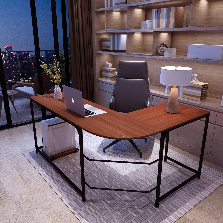SimLife Reversible L-Shaped Corner Computer Desk Standard PC Laptop Study Table Smooth Desktop Modern Home Office Workstation