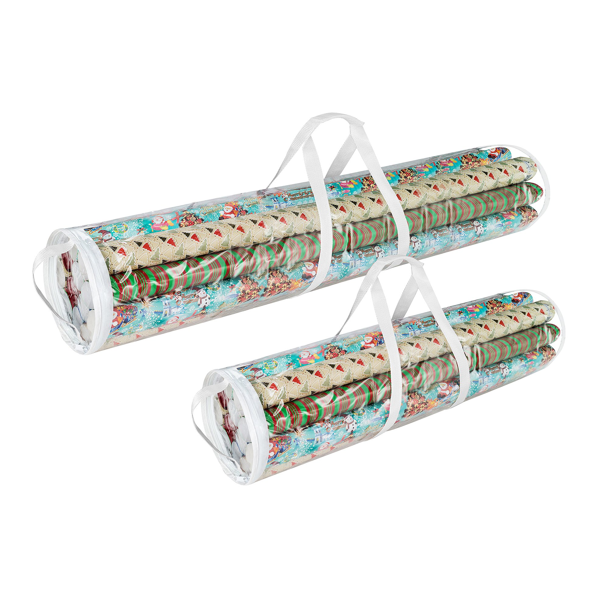 Elf Stor 798976 Christmas Birthday Holiday Storage Set of 2 | Holds 40'' & 31'' Wrapping Paper Rolls, One Bag for Each, 1 Pack Clear