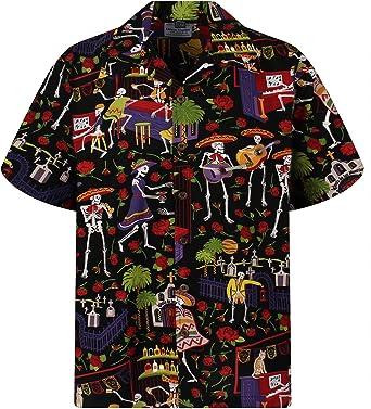Camisa hawaiana para hombre, casual, con botones, manga corta, unisex, día de los muertos, Halloween, calaveras de azúcar - Negro - Medium: Amazon.es: Ropa y accesorios