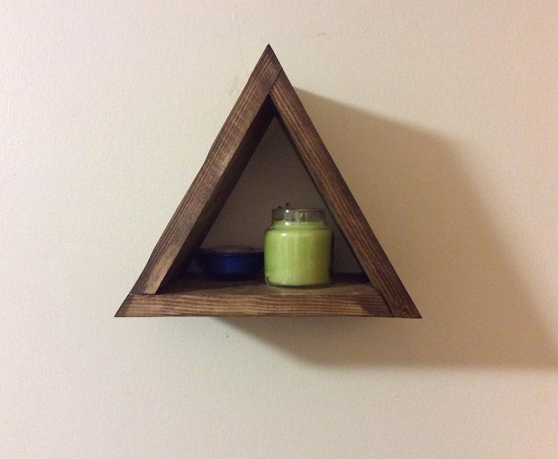 Amazon com small triangular shelf triangle shelf modern home decor shadow box wall hanging floating shelf rustic home wooden shelf modern shelf
