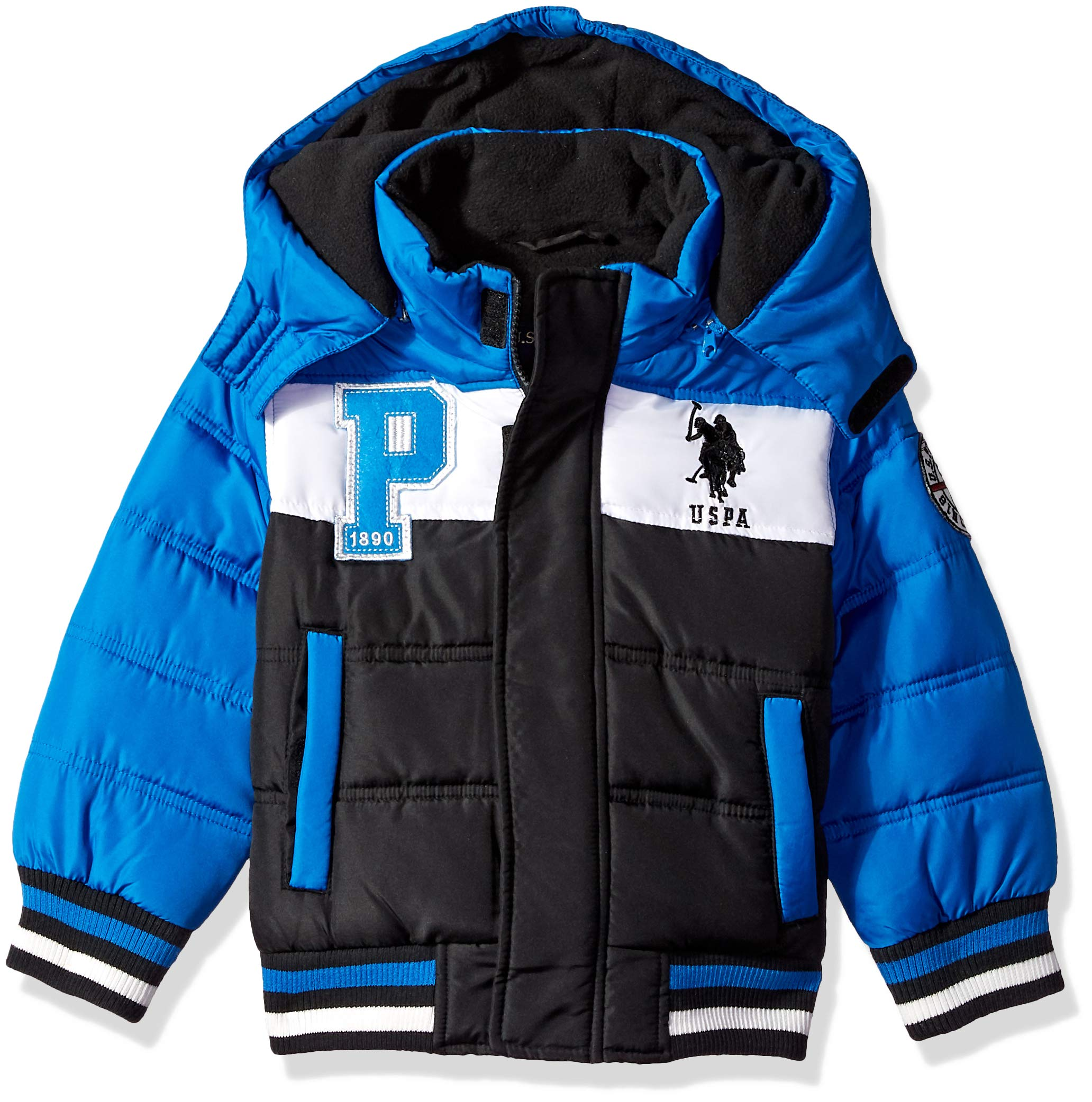 US Polo Association Boys' Little Bubble Jacket with Rib Knit Cuffs, Black/Blue Plaid, 5/6