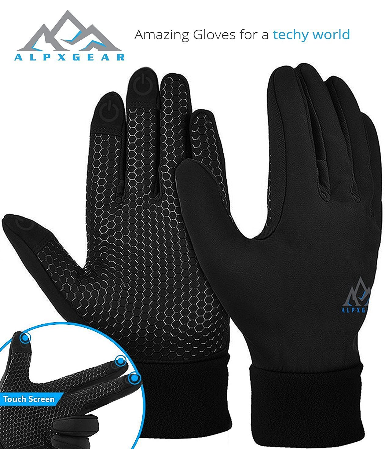 Mens gloves use iphone - Amazon Com Alpxgear Touchscreen Winter Gloves For Men And Women Comes With Snow Fleece Hat Sports Outdoors