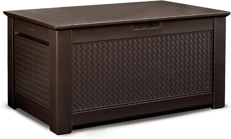 Rubbermaid Patio Chic Outdoor Storage Deck Box, Dark Teak Wicker Basket Weave (1859930)