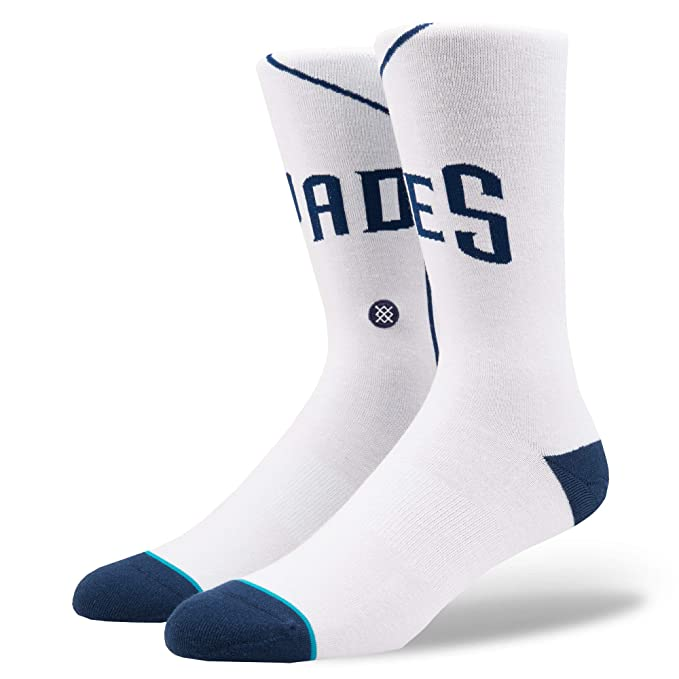 Stance Men's Padres Home Socks White L at Amazon Men's