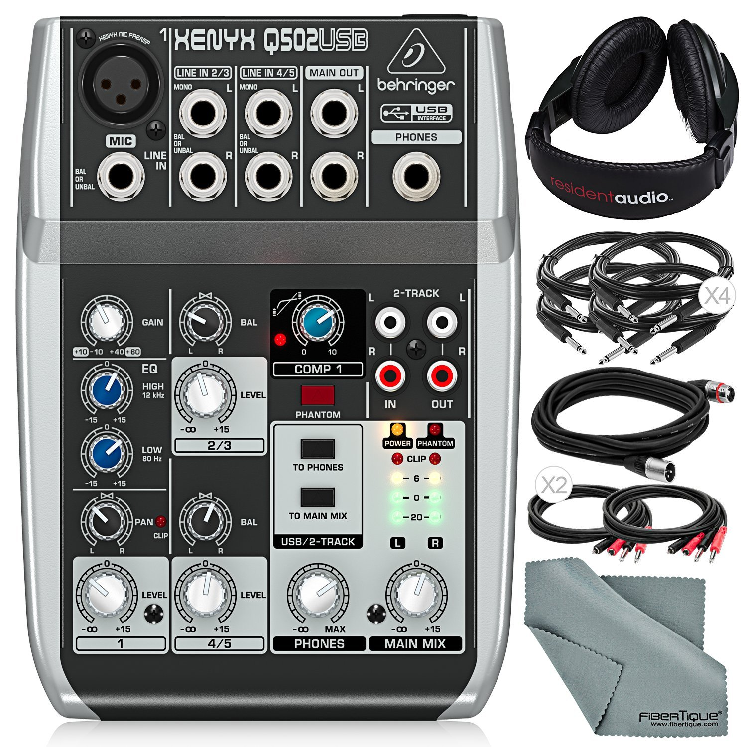 Behringer Xenyx Q502USB Premium 5-Input 2-Bus Mixer with Closed-Back Headphones and Deluxe Bundle