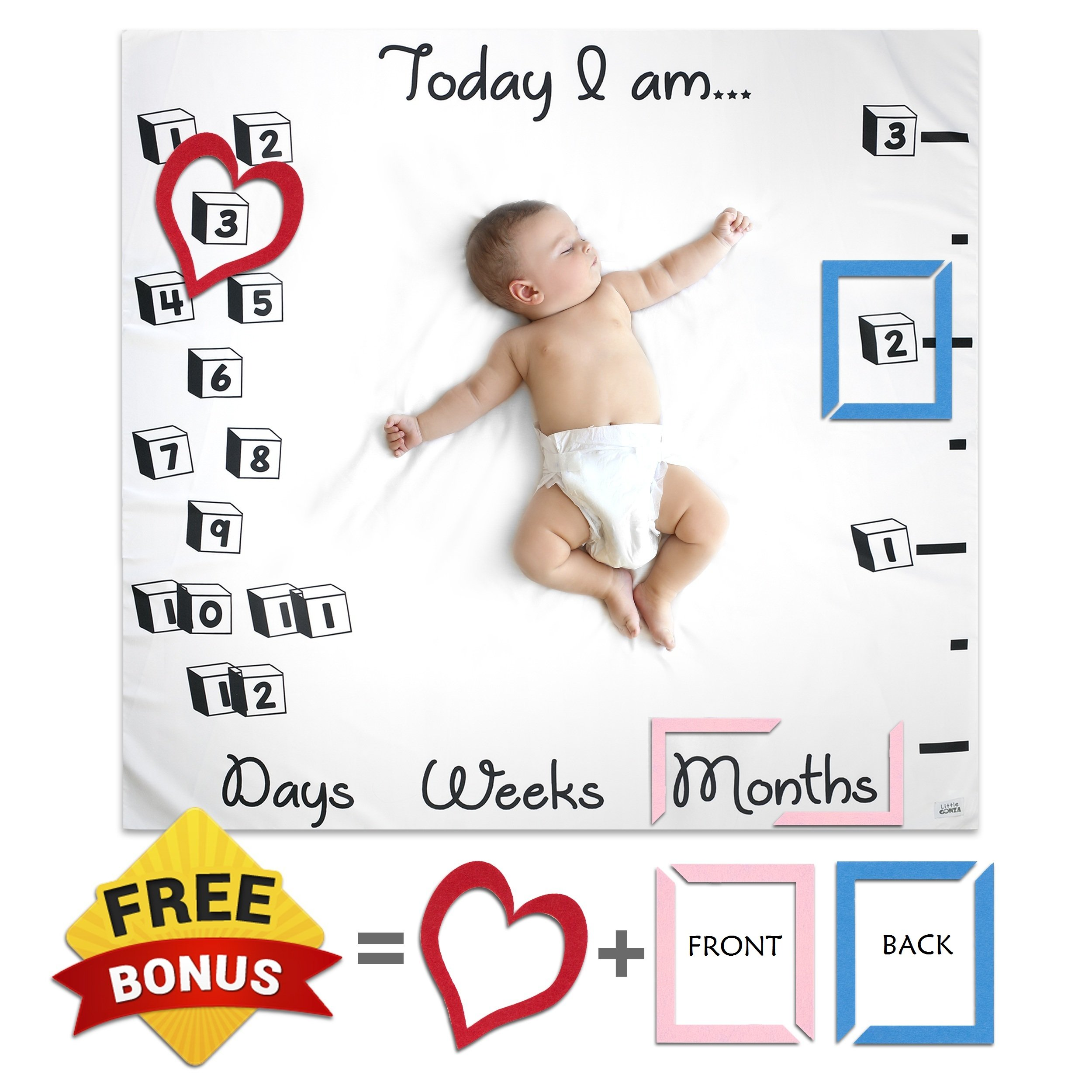 Large Unisex Baby Monthly Milestone Blanket Set With Photo Prop Felt Frames By Little Gonza - Photography Backdrop For Boy Girl Newborn Infant Toddler / Perfect For Baby Registry, New Mom, Baby Shower