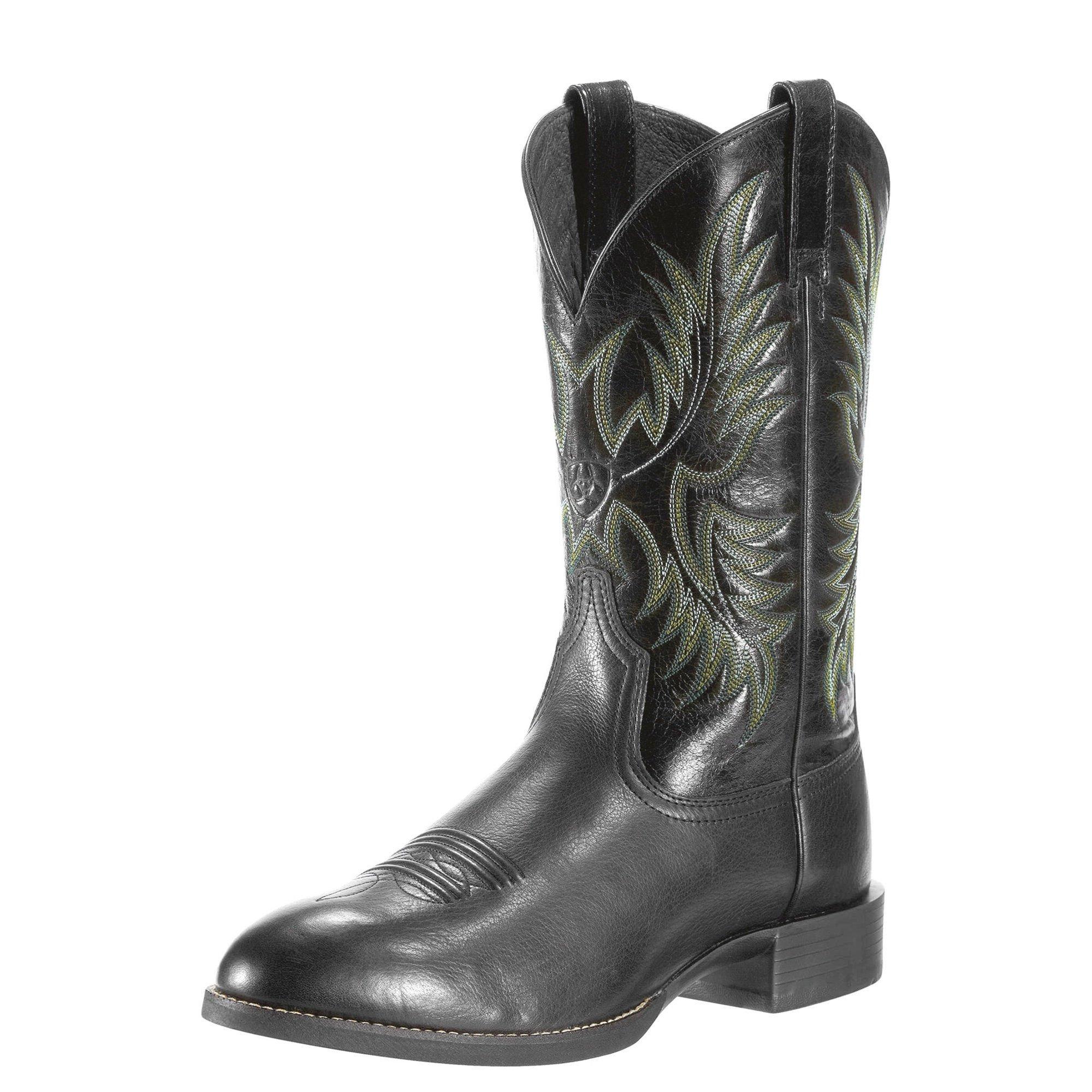 Ariat Men's Heritage Stockman Western Cowboy Boot, Black Deertan/Shiny Black, 12 2E US
