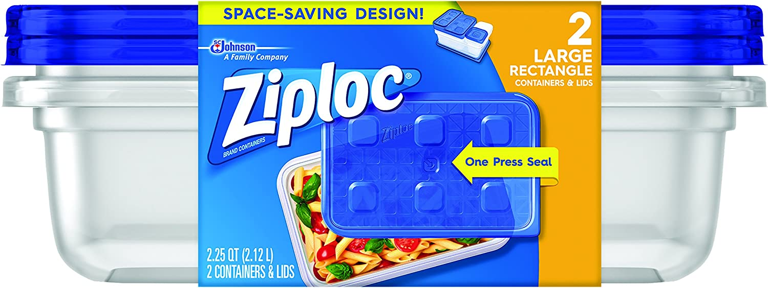 Ziploc Container with One Press Seal, Large Rectangle, 2 ct